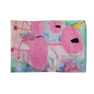 オエカキ_ Flamingo横 Blankets