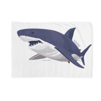 線を重ねて立体感を出したサメ Blankets