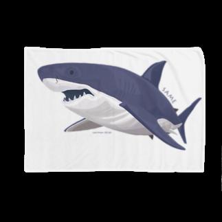イラストレーター さかたようこの線を重ねて立体感を出したサメ Blankets