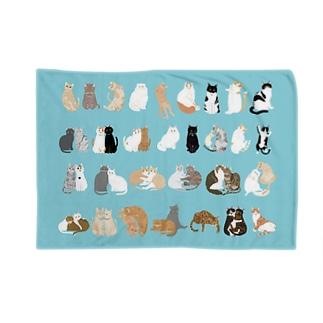 kawamu_cats shopの猫ちゃんブランケット(ブルー) Blankets
