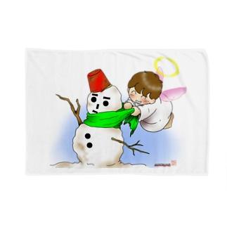 雪だるまと仲良し天使ちゃん Blankets