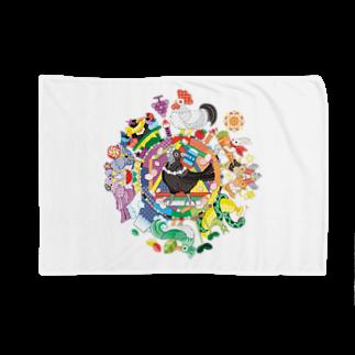 ねことりむし★CAT BIRD INSECTのカラフル色相環グラデーションと白黒カラス Blankets