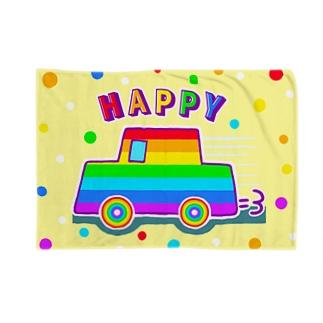 【虹色HAPPYレインボー】「にじカー(クリーム色)」 ブランケット
