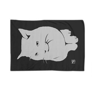 簡潔なる猫のブランケット・グレー ブランケット