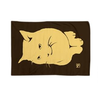 簡潔なる猫のブランケット・セピア ブランケット
