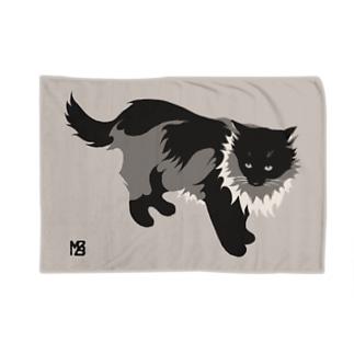 たてがみのある猫のブランケット・モノクロ Blankets