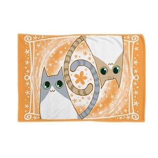 ゆるい系の猫-おれんじ色- ブランケット