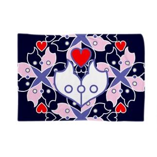 浪漫花-ROMANKA-/ブランケット(ネイビー) ブランケット
