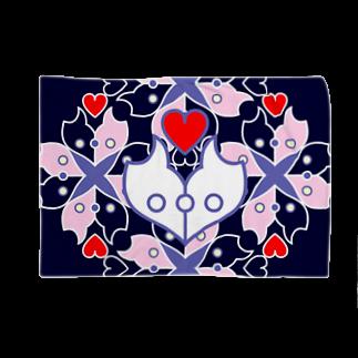 ERIKOERIN ART SHOPの浪漫花-ROMANKA-/ブランケット(ネイビー)ブランケット