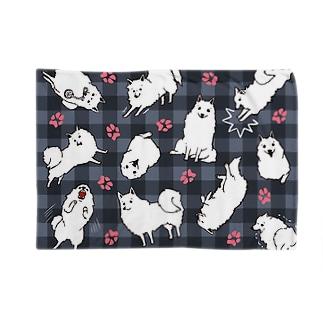 しらたまいっぱい【黒チェック】 Blankets
