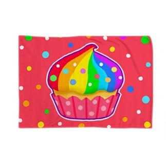 【虹色HAPPYレインボー】「にじカップケーキ」(赤) ブランケット
