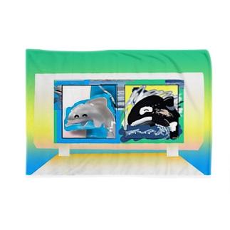 シャチのショーイルカの群れ Blankets