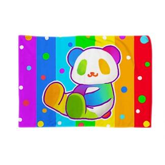 にじパンダ(虹色)【虹色HAPPYレインボー】 Blankets
