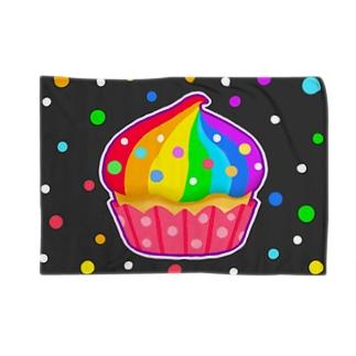 【虹色HAPPYレインボー】「にじカップケーキ」(黒) ブランケット