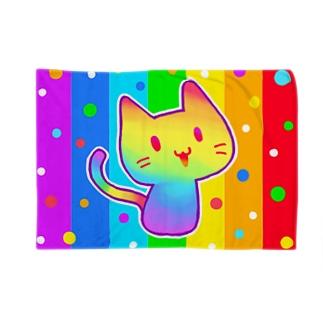 【虹色HAPPYレインボー】「にじネコ」(虹色) ブランケット