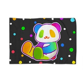 【虹色HAPPYレインボー】「にじパンダ」(黒) Blankets