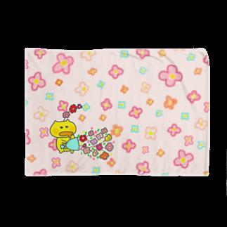 ぽぽぽのお店の花畑ニャンキー(ピンク)ブランケット