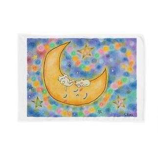 猫ちゃん月でスヤスヤ Blankets