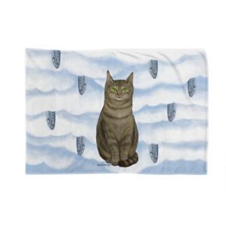 キジトラとイワシ Blankets