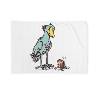 ハシビロコウとサカナ‐カラフル Blankets