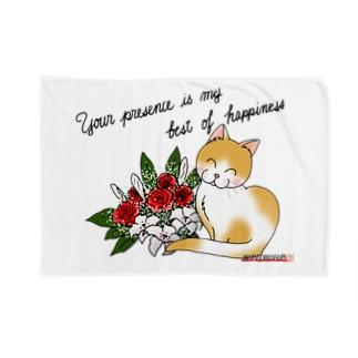 花束とニコニコ猫ちゃん Blankets