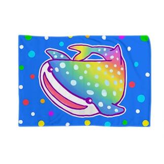 【虹色HAPPYレインボー】「にじジンベエザメ」(青) Blankets