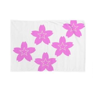 星桜紋(流れ星ピンク) Star cherry blossom Crest (Shooting star pink)) Blankets