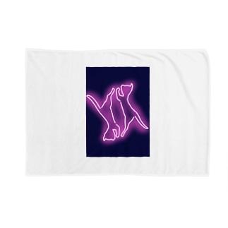 2対の猫(ネオン) Blankets