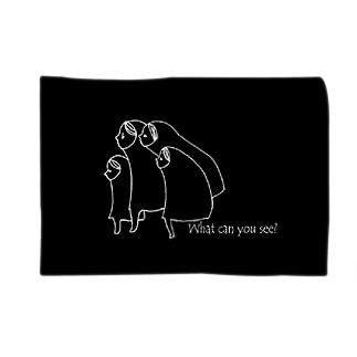 見つめるこどもたち(黒) Blankets