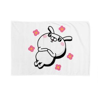 ドSうさぎちゃん(寝転がりバージョン)花 Blankets