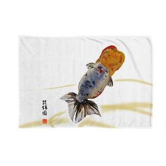 【金魚】江戸錦~藍のゆらめき~ Blankets