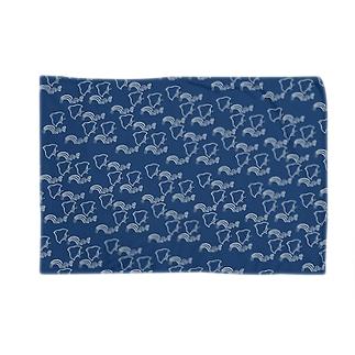 波千鳥パターン・青藍 ブランケット