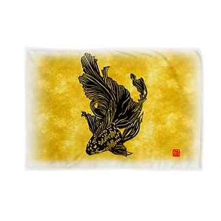 切り絵金魚--黒キャリコ-- Blankets