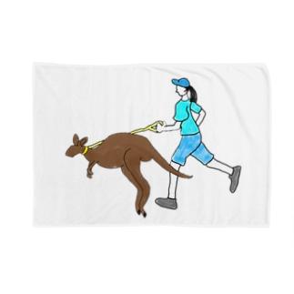 カンガルーとジョギングする人 Blankets