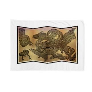 爬虫類大集合 屏風絵 Blankets