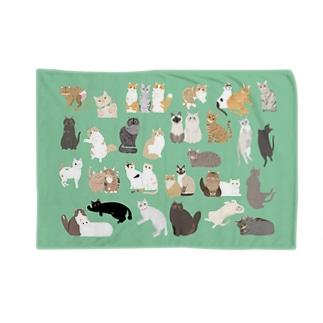 猫ちゃんブランケット ver.2(グリーン) Blanket