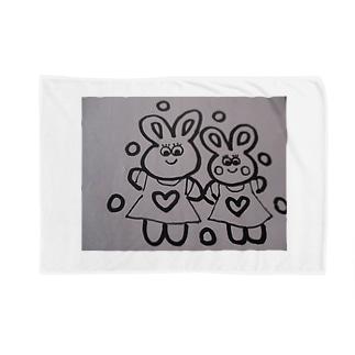 ウサギの親子とハート Blankets