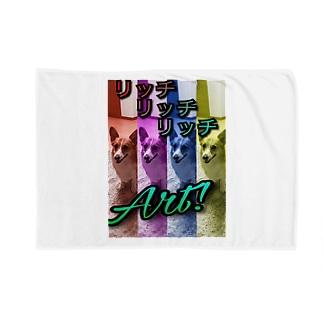 コーギーリッチART Blankets