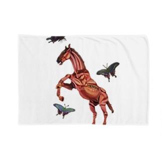 馬と蝶 ブランケット