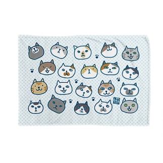 ネコネコブランケット(青) Blankets