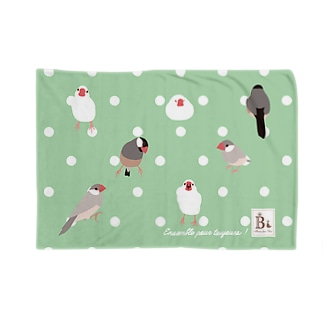 文鳥さん ミントグリーン Blankets