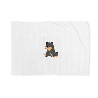 kurosiba0520のちょこんとおすわり黒柴 Blankets
