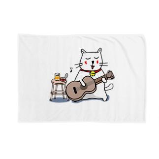 白猫のネコ先輩 ギターぽろろん ブランケット