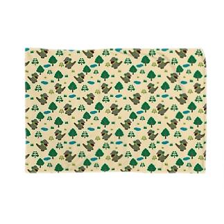 モッコメリアンパターン-緑 ブランケット
