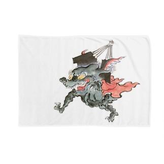 百鬼夜行絵巻 扇の付喪神【絵巻物・妖怪・かわいい】 Blankets