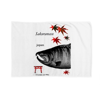サクラマス 産卵期(婚姻色 モノクロ) Blankets