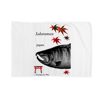 G-HERRING(鰊;鮭;Tenkara;SALMON)のサクラマス 産卵期(婚姻色 モノクロ) Blankets