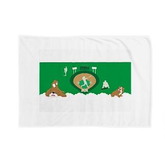 野球と犬のわんわんナンバーワン ブランケット