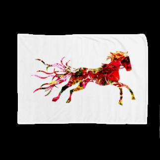 helocdesignのRed Horse ブランケット