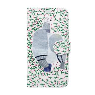 花に埋もれる鳩 Book-style smartphone case